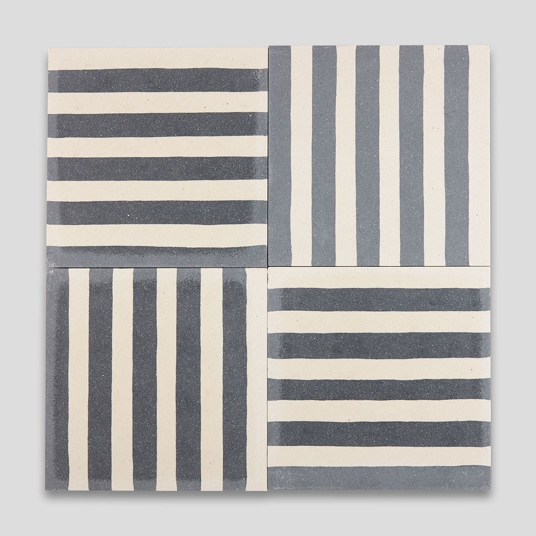 dark blue stripes encaustic cement tile otto tiles design