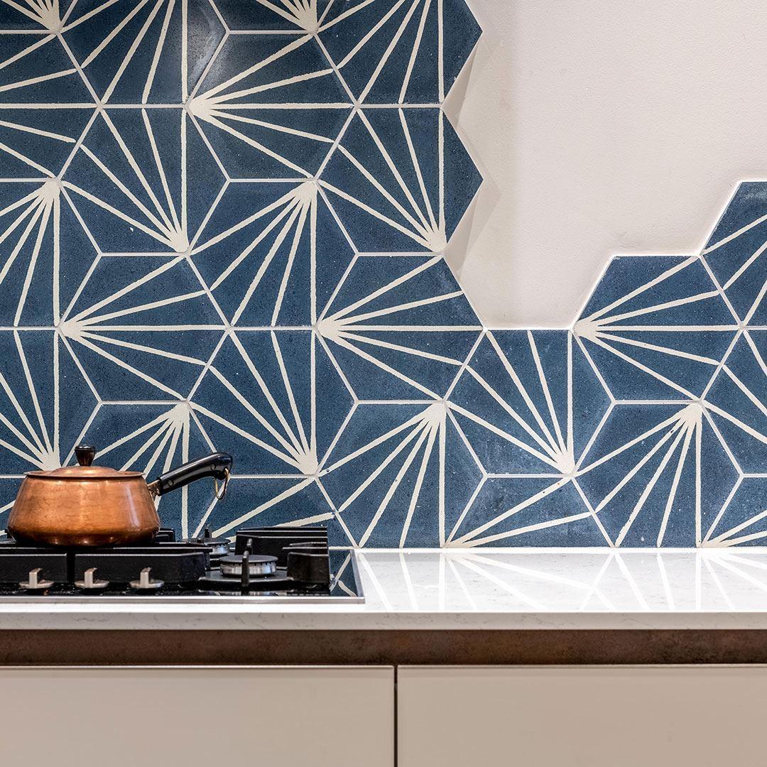lily hex navy blue encaustic cement tile otto tiles design