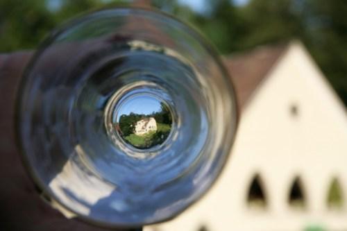 Me looking through my empty beer glass