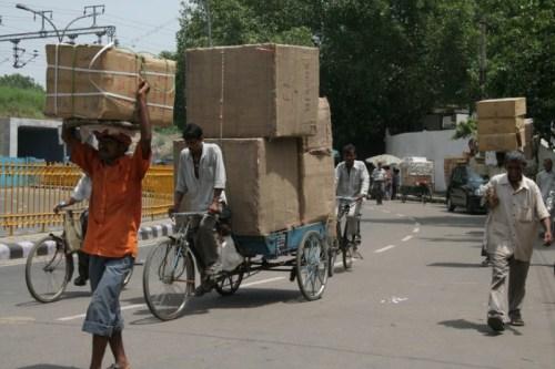 Typical street traffic in Old Delhi