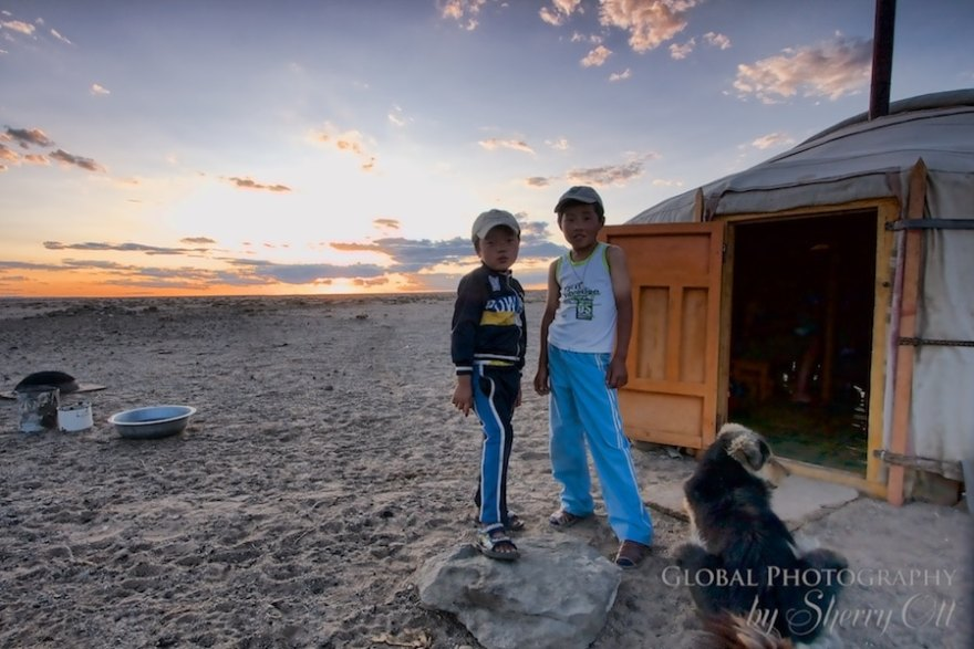 Mongolia children at the ger