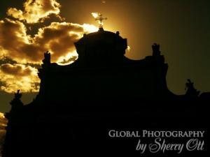 sunset church