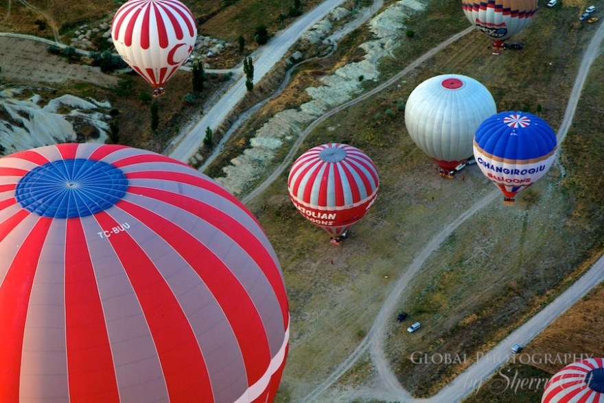Colorful balloons rise up in Capadoccia Turkey
