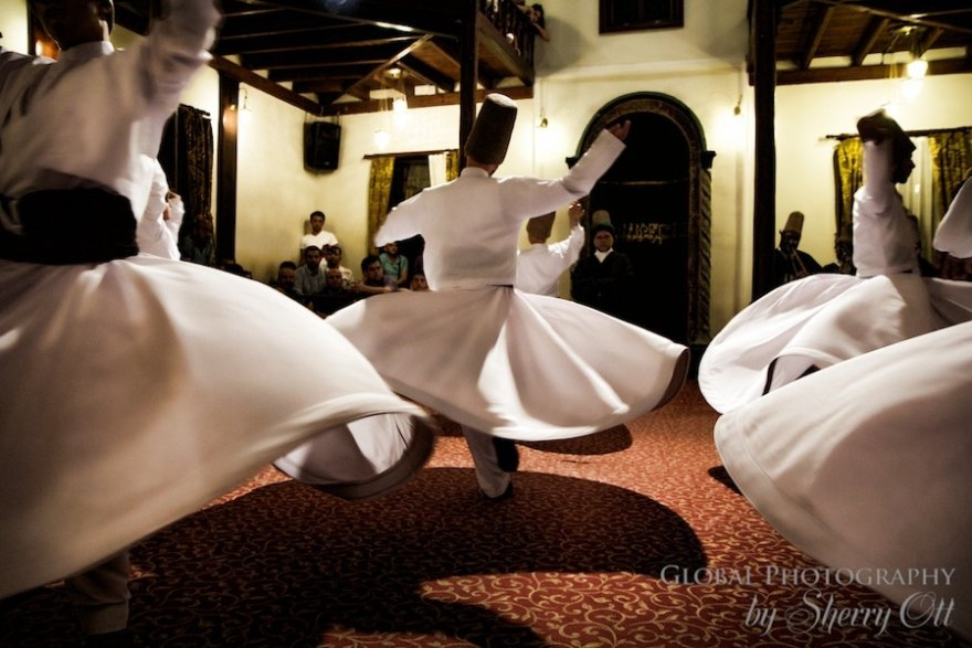 Whirling Dervishes perform at a religious ceremony