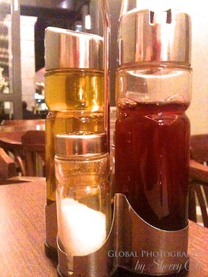 oil and vinegar on the table
