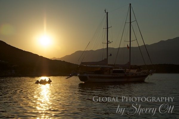 The sun goes down on the water near Kas Turkey