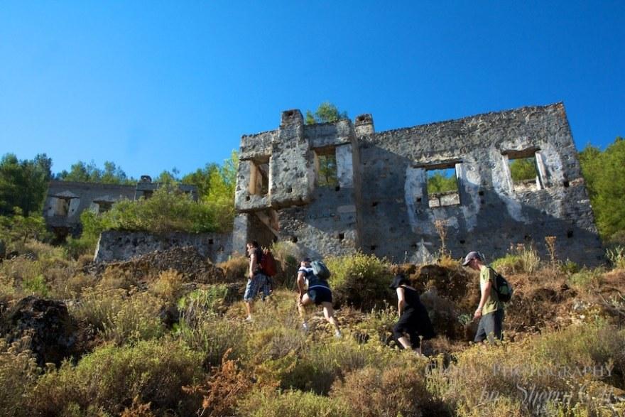 Hiking up through Kayakoy on the Lycian Way