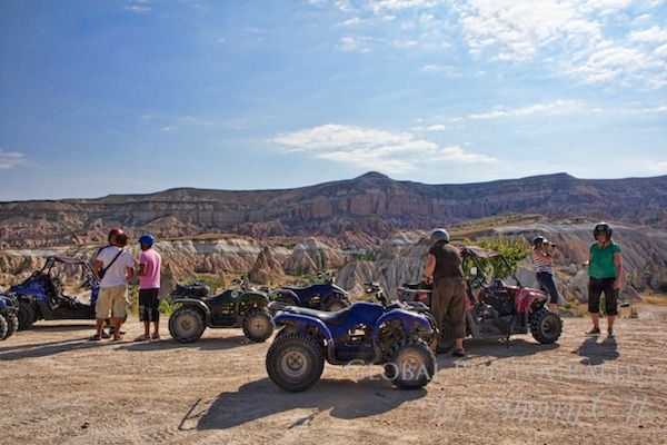 parked quad bikes overlooking Cappadocia Turkey