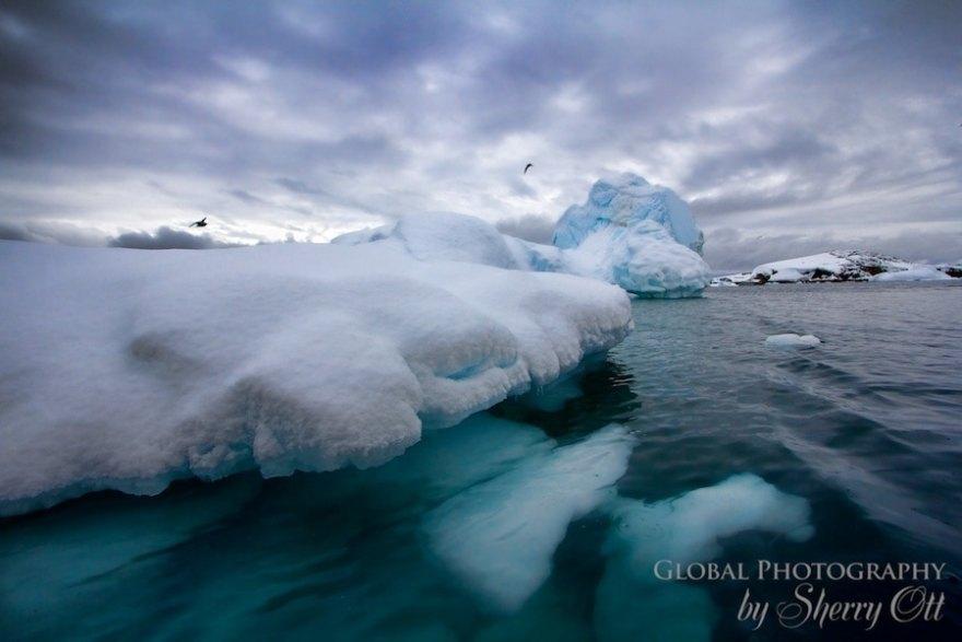 Antarctica iceberg under water
