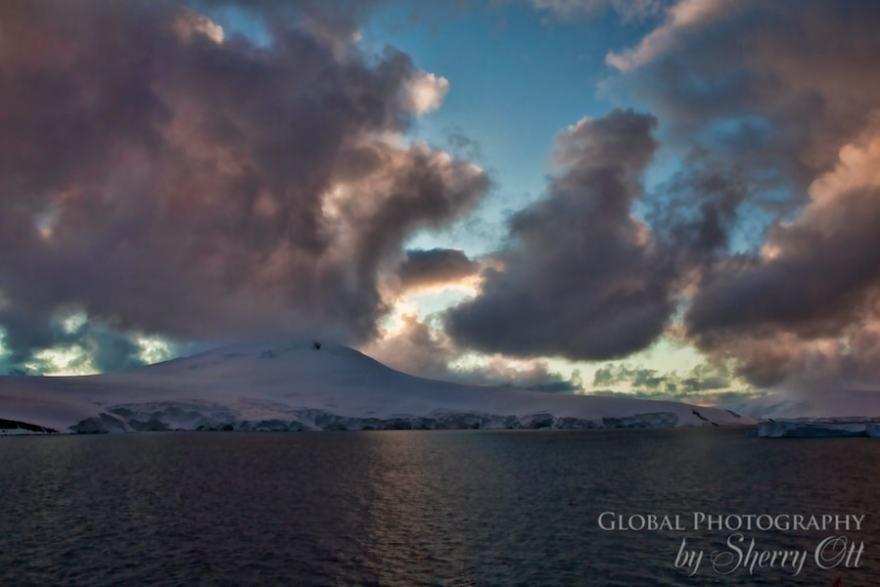 antarctica pictures sunset