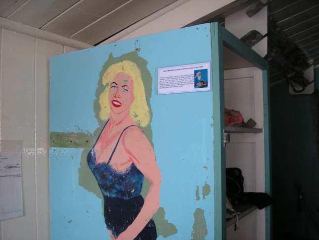 Painted pinup at the Port Lockroy museum
