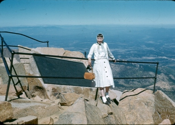 Mom at Pike's Peak on her honeymoon at age 23.  She was fearless then...