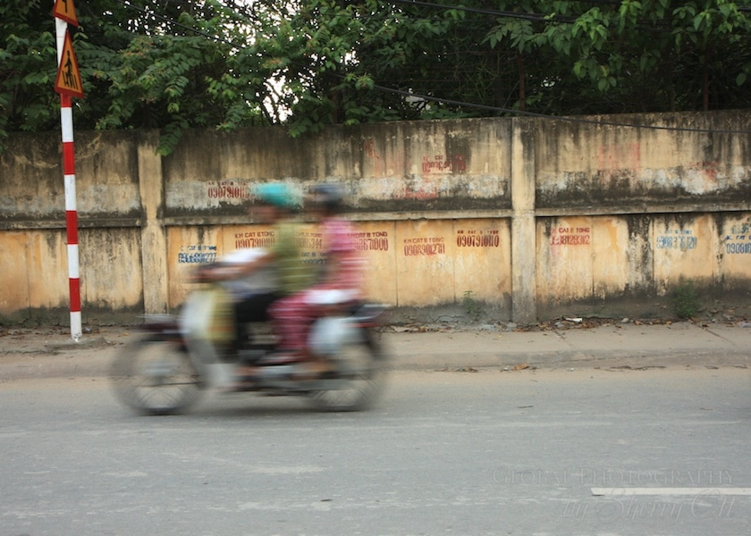 motorbike in motion vietnam