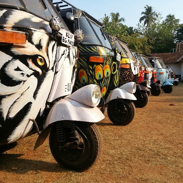 a line up of Rickshaws in India