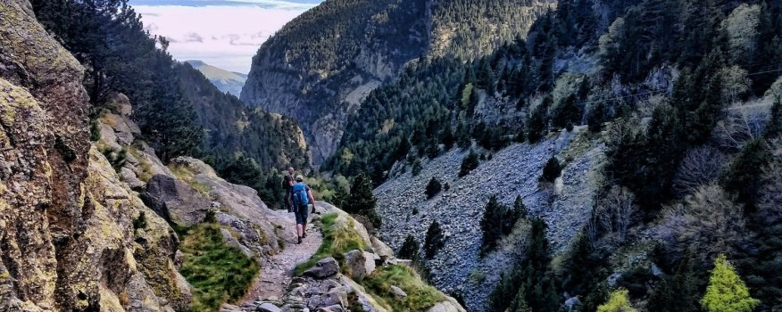 Pete hikes in front of me through the Pyrenees