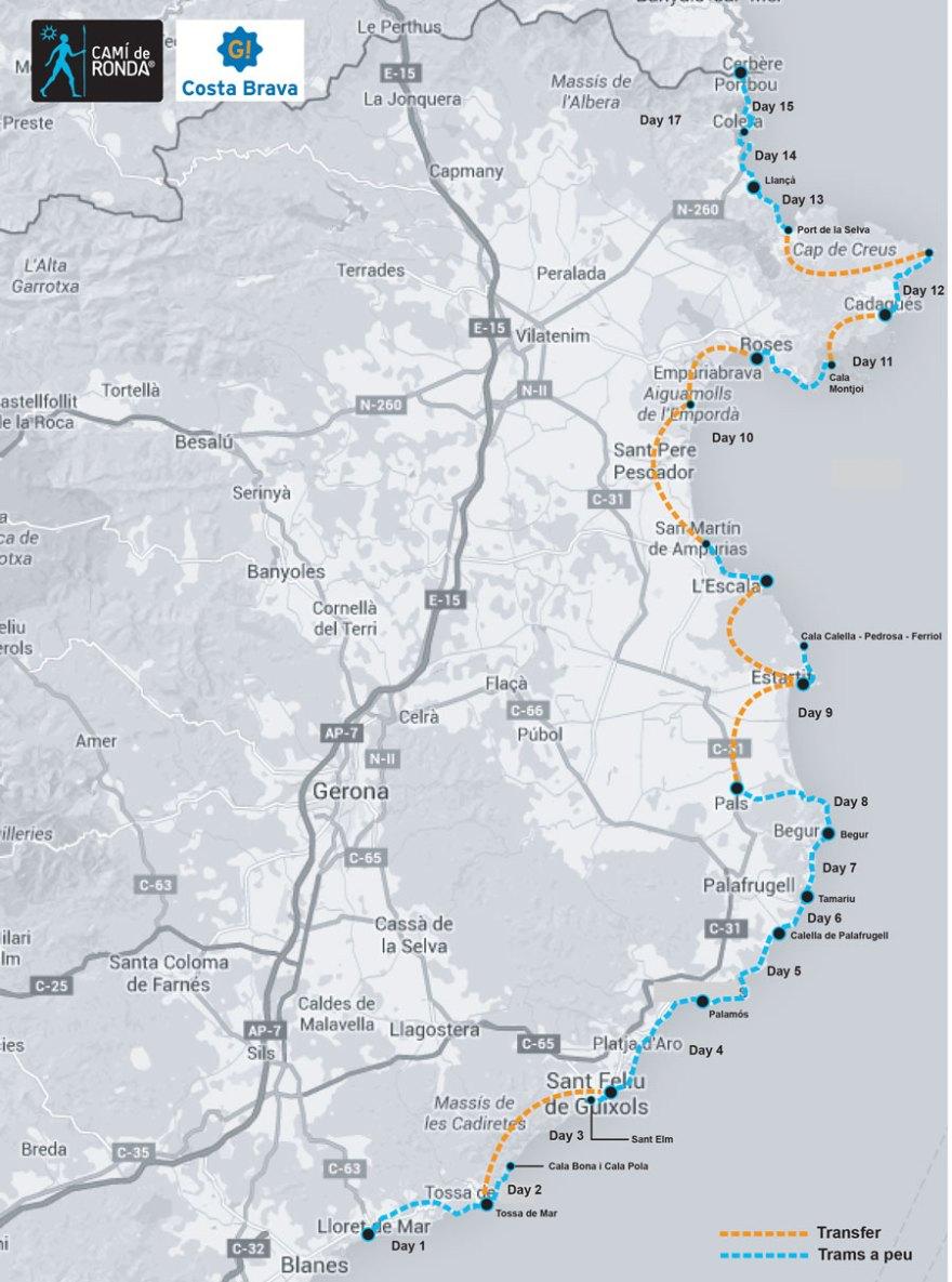 camino de ronda map itinerary