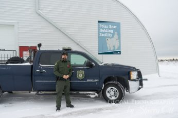 Conservation officer, Jeff Chuchmuch, stands outside the polar bear conservation faciity