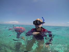 Allie snorkeling for the first time