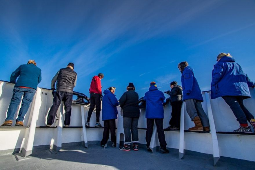 people enjoying the view from our Antarctica cruise