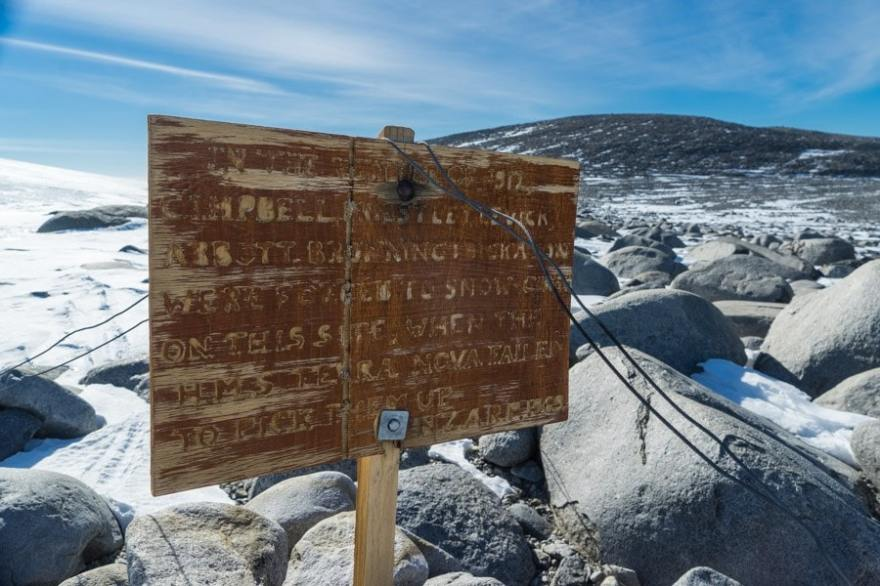 a sign on the inexpressible island in the ross sea