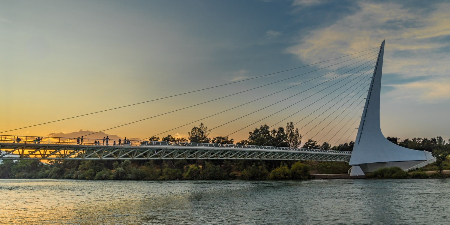 Sundial Bridge Sunset Redding California