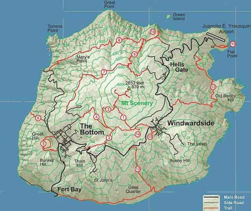 saba hiking trail map