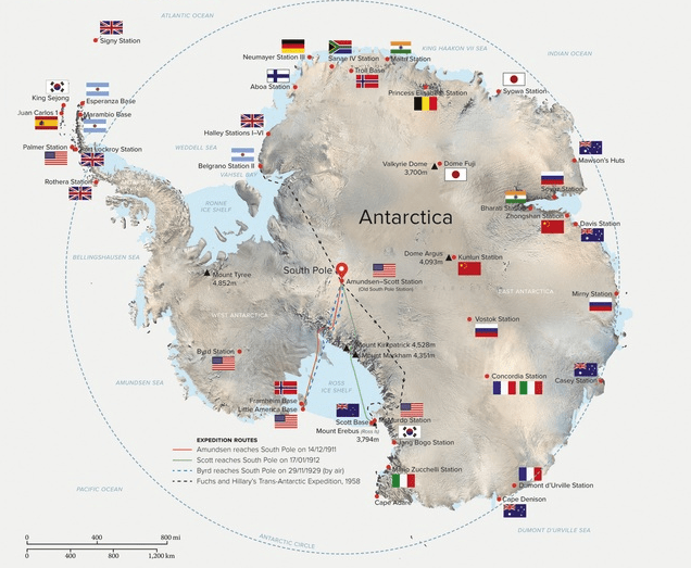 Map of Antarctica research bases by country