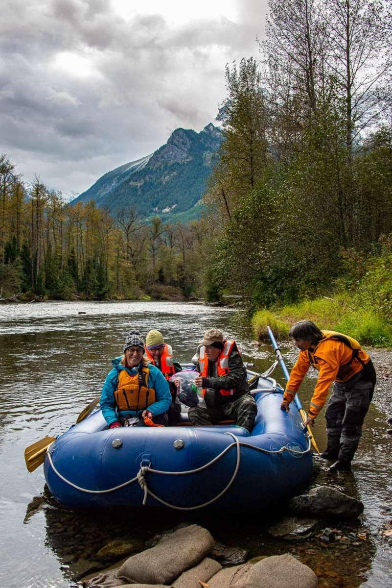 ours, regarder, rivière, flotteur