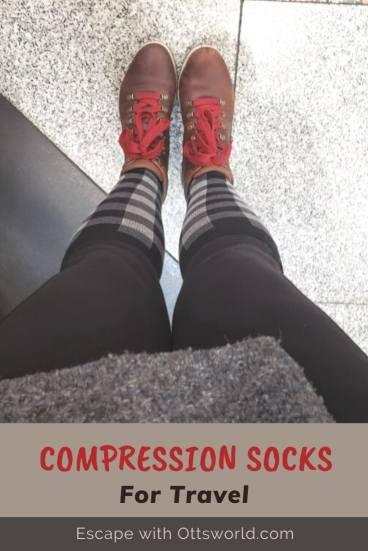 compression socks for travel black white check