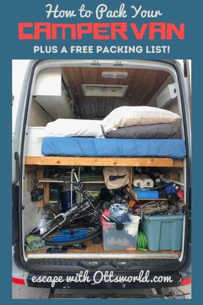 packed interior of campervan