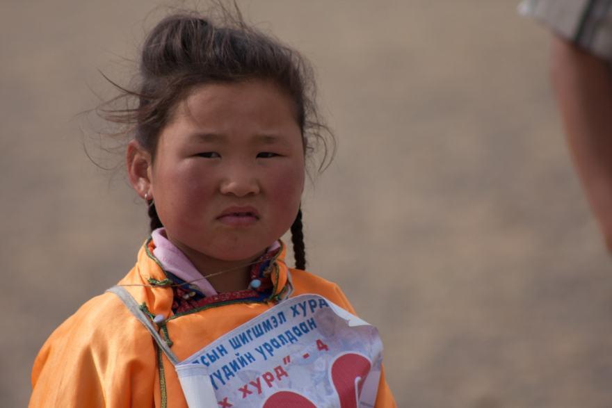A young girl Naadam jockey
