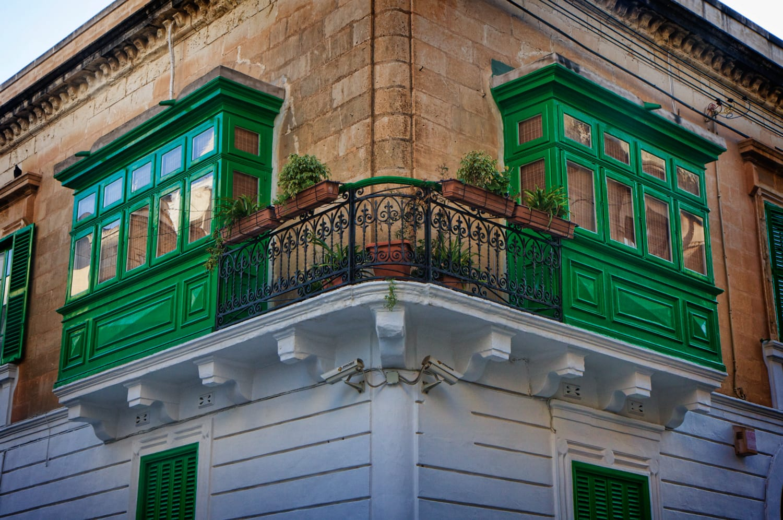 wooden balconies on the corner