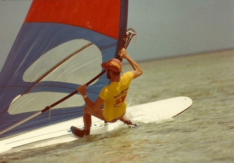 Jim Hulme Almost Falling Off his Wind Surfer
