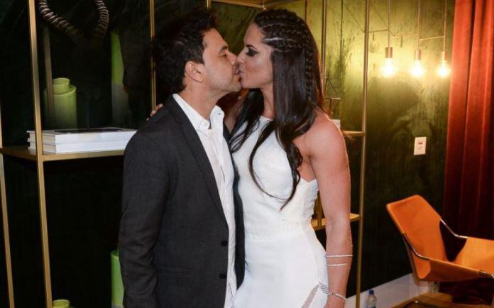 Zezé di Camargo beija sua noiva, Graciele (Foto: Divulgação)