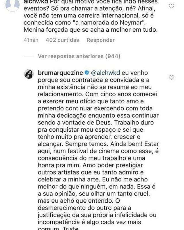 Bruna Marquezine responde seguidor (Foto: Reprodução)