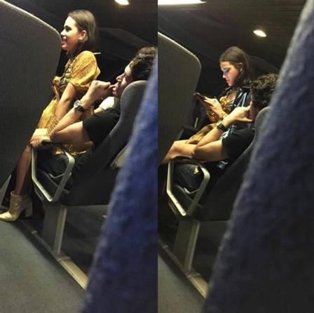Bruna Marquezine foi fotografada sentada no colo de Lucas Kalil nos EUA (Foto: reprodução/ instagram)