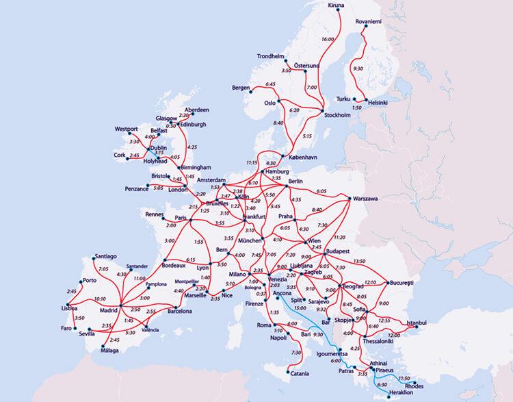 Le réseau ferré en Europe permet de se rendre absolument partout.