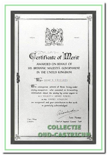 Dankbetuiging van de Engelse regering aan dokter Leenaers voor zijn berichtgeving via een postduif.