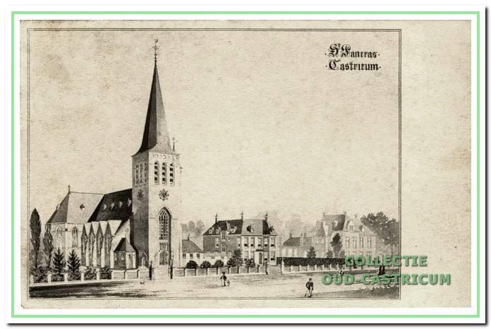 Tekening van de Pancratius Kerk, pastorie en zusterhuis.