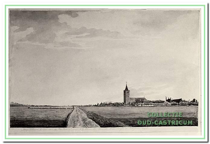 Castricum in 1807; de hoofdweg naar het noorden was blijkens deze aquarel van J.A . Cresent nog een mulle zandweg; de aquarel is gemaakt vanaf een punt nabij het beging van de Oude Haarlemmerweg.