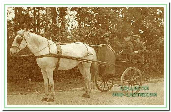 De familie Castricum in een rijtuigje op de Heereweg.