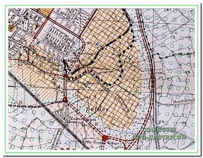 Het inspraakmodel van de toekomstige oostelijke uitbreiding van Castricum. Met punten is aangegeven voor welke grens uiteindelijk is gekozen en met strepen is de grens aangeduid van plan Albert's Hoeve. In de loop der jaren werd aan de open ruimte tussen Castricum en Uitgeest steeds meer waarde gehecht.