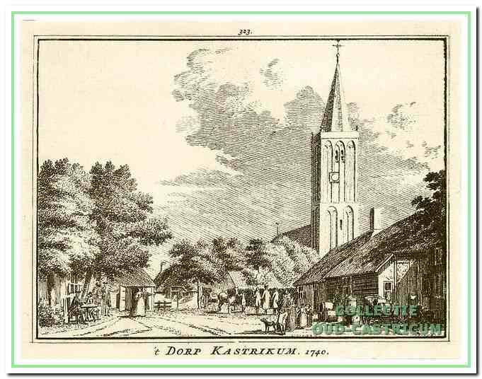 Situatie rond de Hervormde kerk in 1740, gravure van Hendrik Spilman.