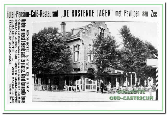 Advertentie van het hotel, pension en restaurant de Rustende Jager.