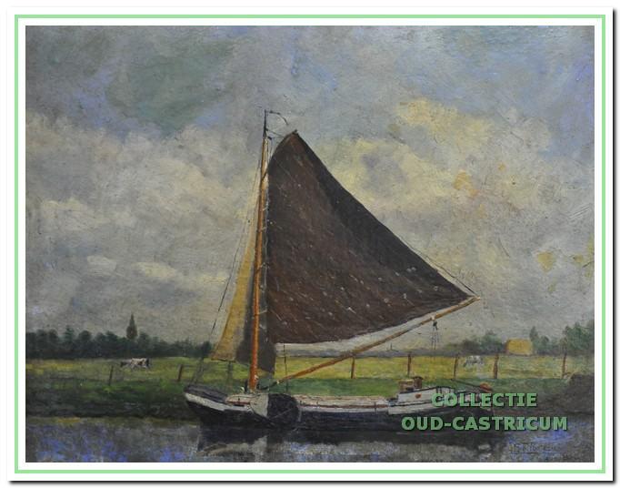 Het zeilschip van Freek Hollenberg volgens een schilderij van Sijf Portegies.