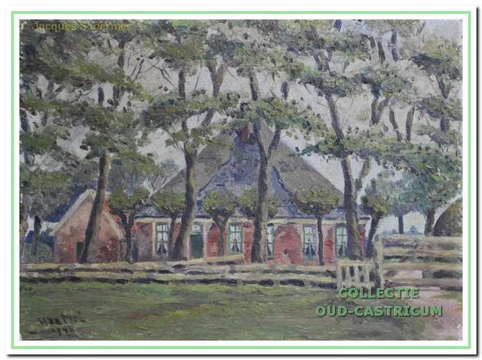 Boerderij Piet Veldt, gesloopt in 1943. Schilderij van A. de Mol.