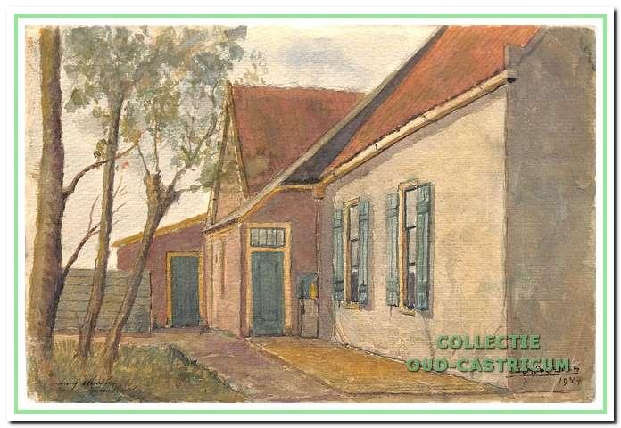 Schilderwerkje uit 1944 van Sijf Portegies van een gedeelte van de boerderij Doodweg 10.