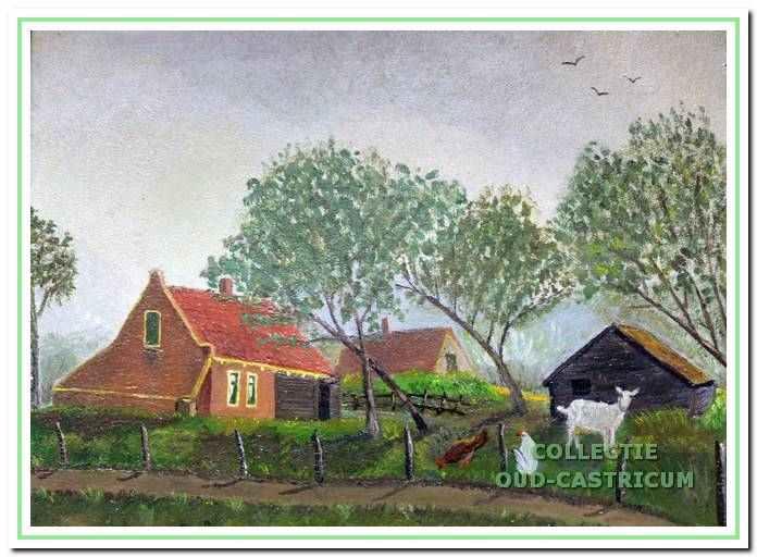 Sien Nijman-Zonneveld maakte dit schilderstukje van haar ouderlijk huis dat bekend stond als 'het huis op het duintje' van Engel Zonneveld. Daarbij werd ze geholpen door (kunst)schilder Sijf Portegies, bij wie ze in de huishouding werkte.
