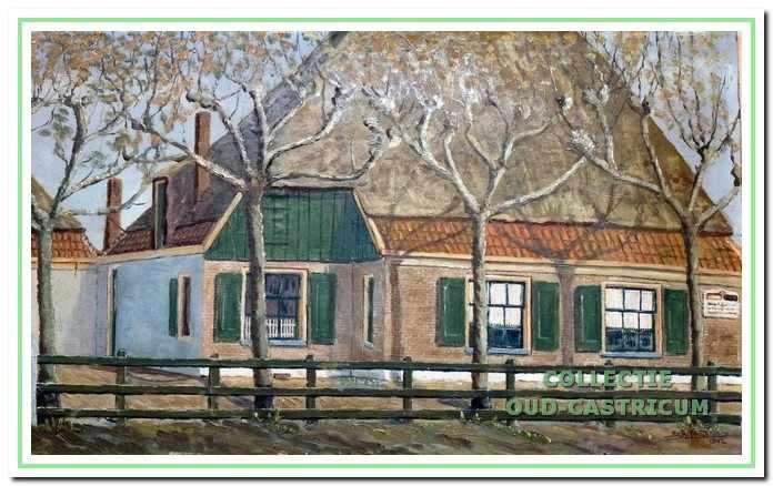 Vooraanzicht van de panden van Jan Kuijs, geschilderd door Sijf Portegies, waarin gevestigd een woonhuis, een bakkerij en een winkel. De aanwezigheid van de bakkerij wordt bevestigd door een bord rechts op de voorgevel met een wit en bruin brood.