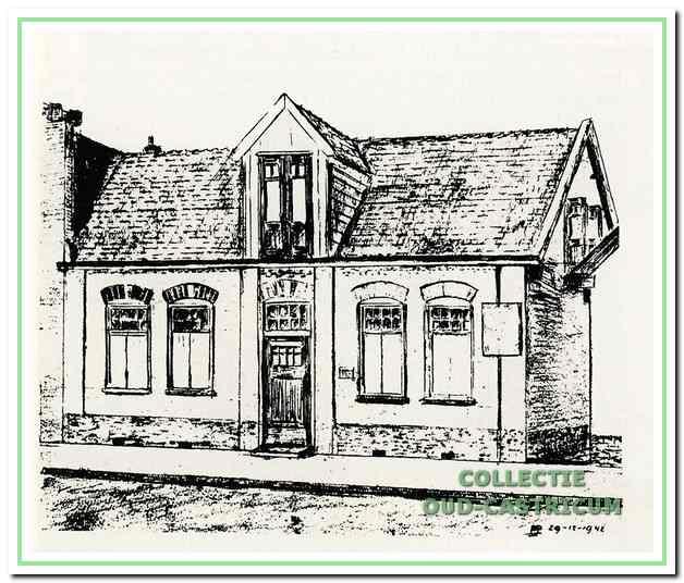 Tekening door Sijf Portegies van zijn woning, Dorpsstraat 20.